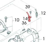 14) Thermostat (overheat thermostat)